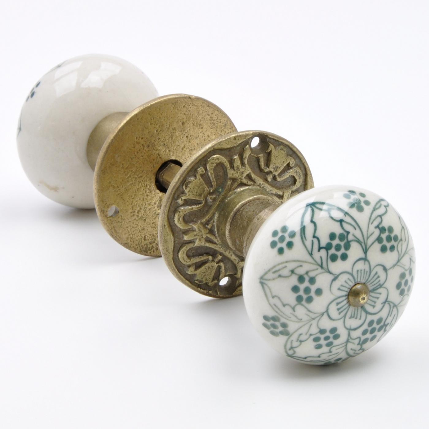 Hand-Pained Floral Flower Ceramic & Antique Brass Mortice Door Knob ...
