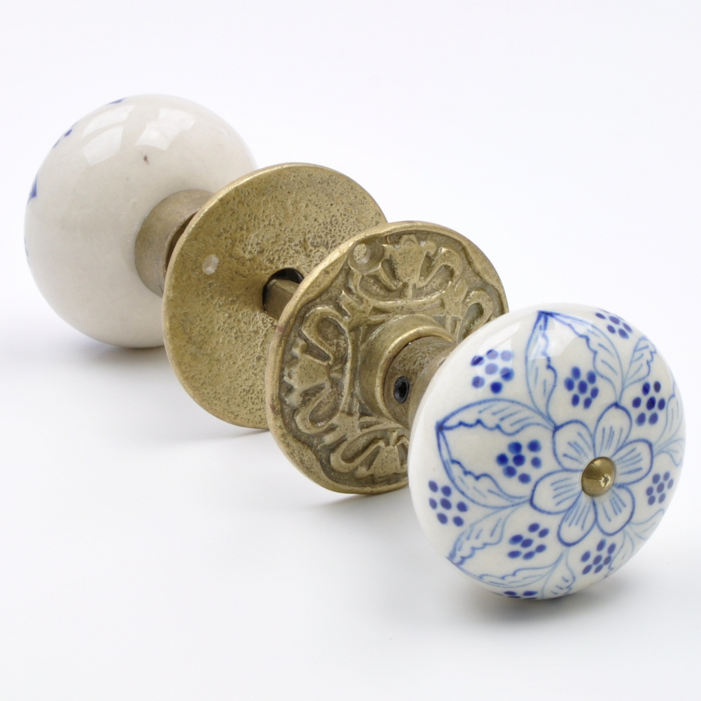 Hand-Pained Blue Floral Flower Ceramic & Antique Brass Mortice Door ...