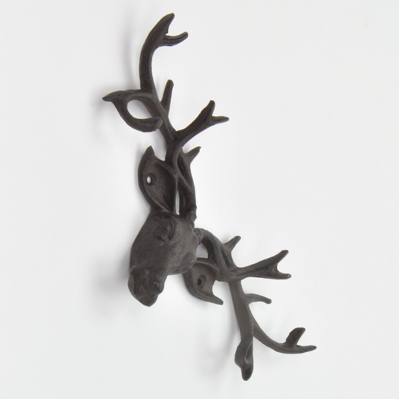 Black Deer Stag Head With Antlers Coat Rack Wall Rack