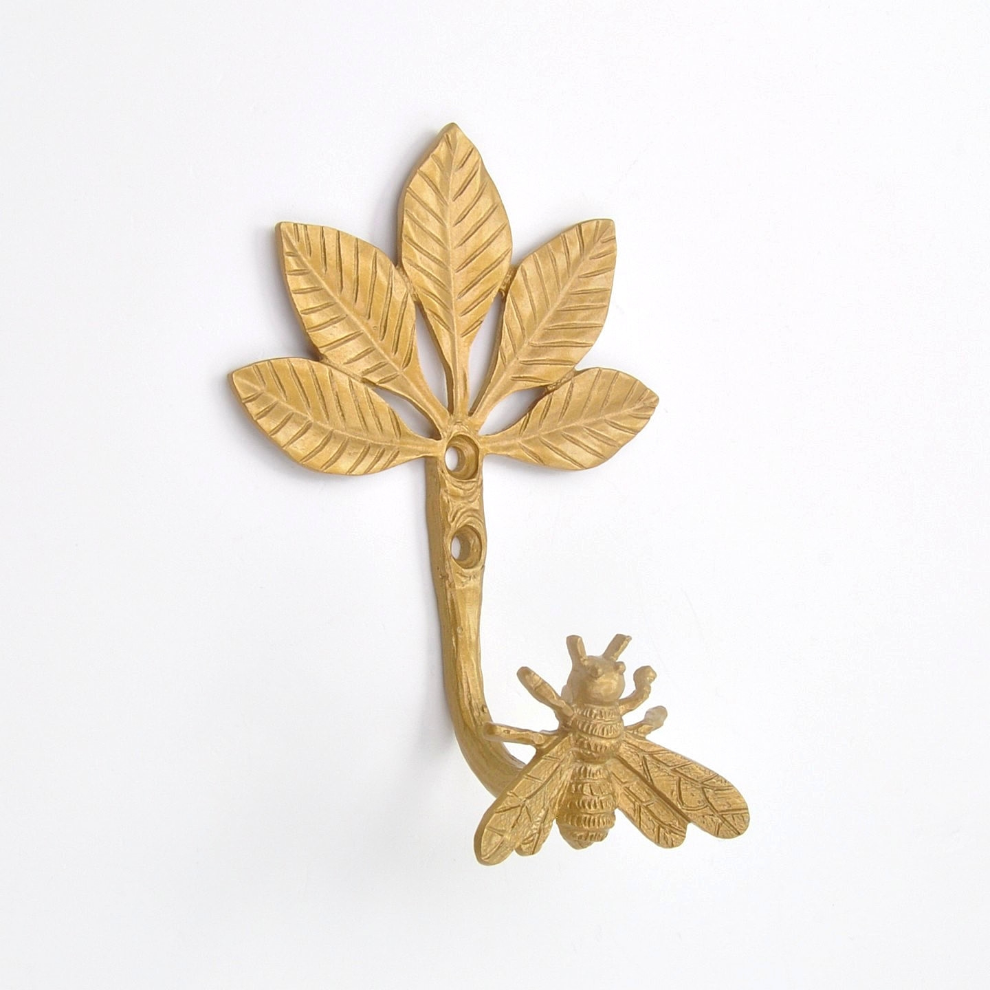 Golden Gold Bumble Bee Tree Coat Hook Hooks Wall Mounted