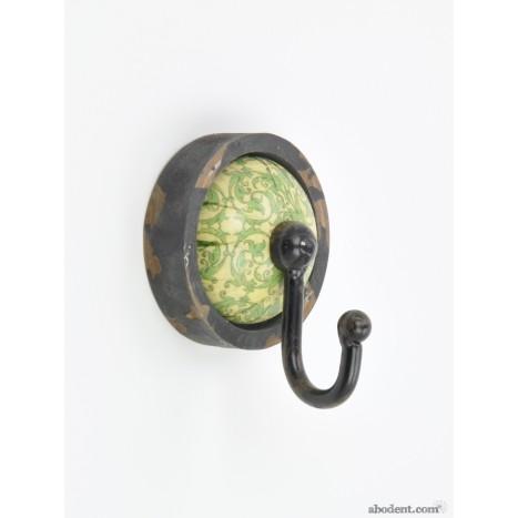 Green Circular Vintage Patterned Coat Hook