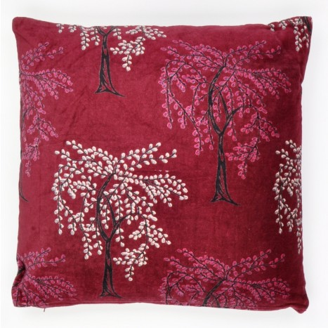 Rouge Blossom Square Cushion