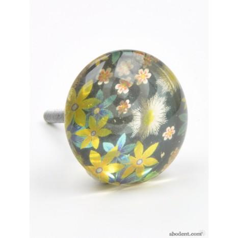 Large Round Flower Print Knob