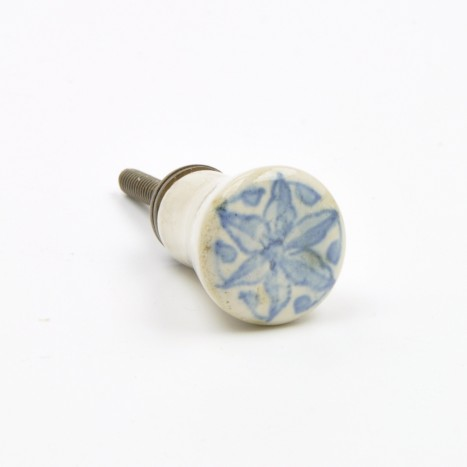 Painted Blue Ceramic Knob