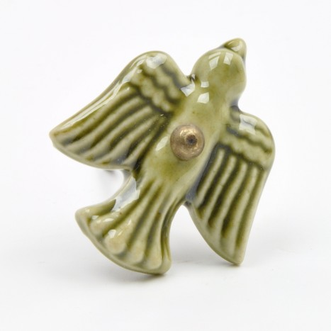 Green Ceramic Bird Cupboard Knob