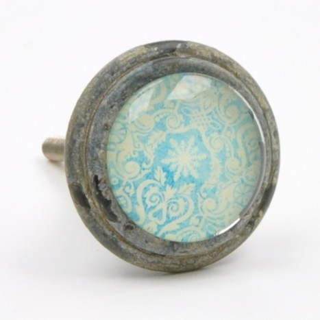 Blue Patterned Metal Knob