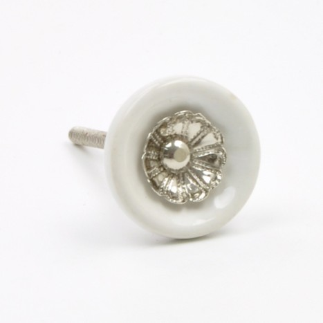 Pretty White Small Ceramic Knob