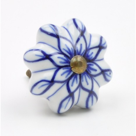 Blue Flower Ceramic Knob