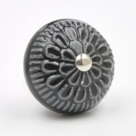 Black Ceramic Cabinet Knob