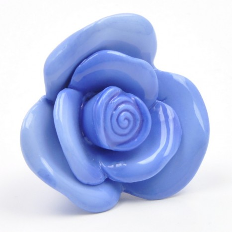 Blue Ceramic Rose Cupboard Knob