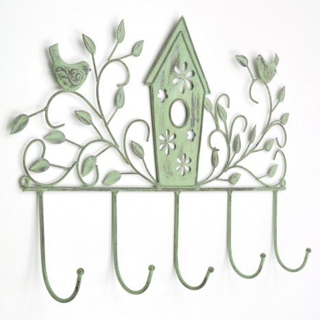 Green Bird House Coat Rack