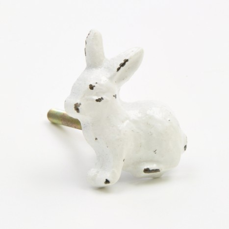 White Metal Rabbit Knob