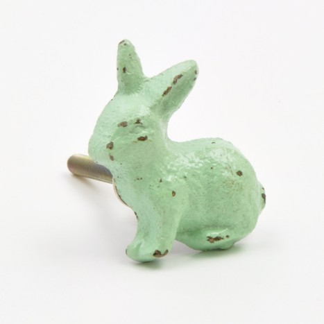 Green Metal Rabbit Knob