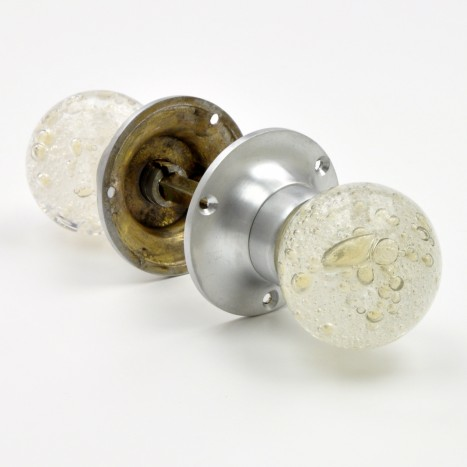 Silver Air Bubble Mortice Knobs