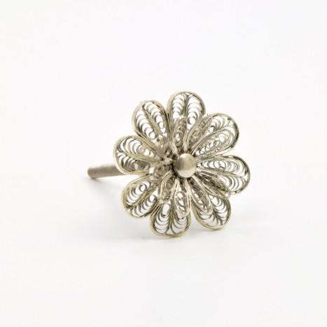 Silver Flower Knob
