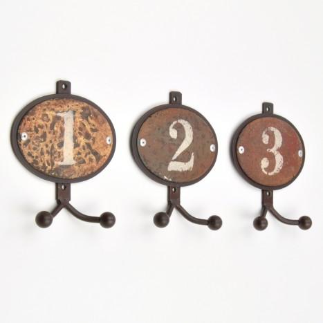 Numbered Distressed Coat Hook Set