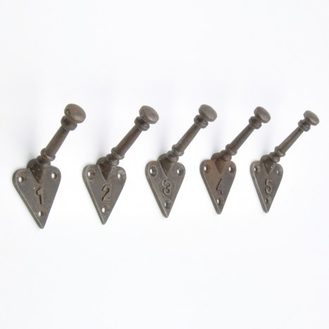 Numbered Metal Wall Hooks