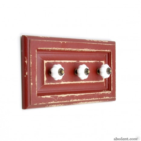 Red Wooden Wall Rack With Knobs