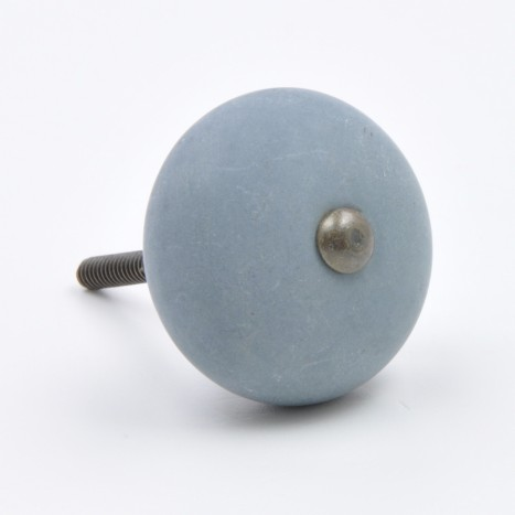 Blue Matte Finish Round Drawer Knob