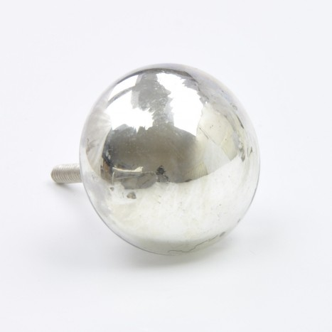 Precious Glass Cupboard Knob - Silver