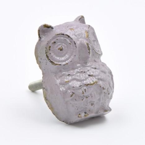 Alloy Owl Cupboard Knob - Lavender