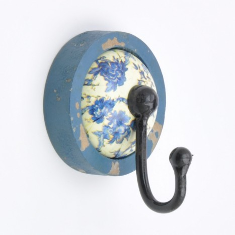Blue Vintage Flower Pattern Wall Hook