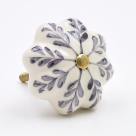Grey Painted Flower Ceramic Knob