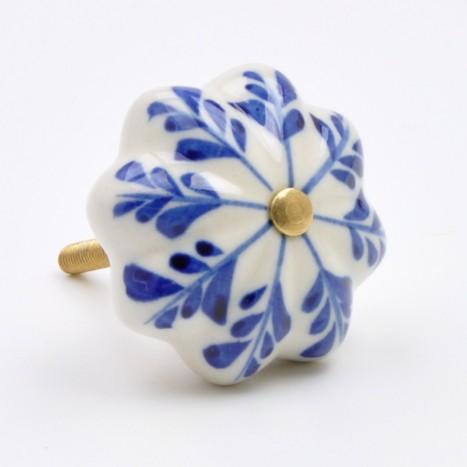 Blue Painted Flower Ceramic Knob