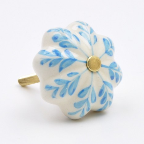 Turquoise Painted Flower Ceramic Knob