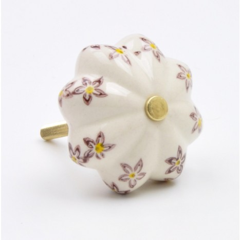 Purple Flower Painted Ceramic Knob