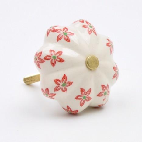 Red Flower Painted Ceramic Knob