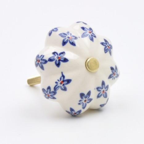 Navy Blue Flower Painted Ceramic Knob