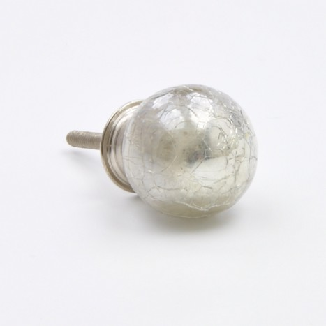 Crackled Globe Cupboard Knob - Cloudy Silver