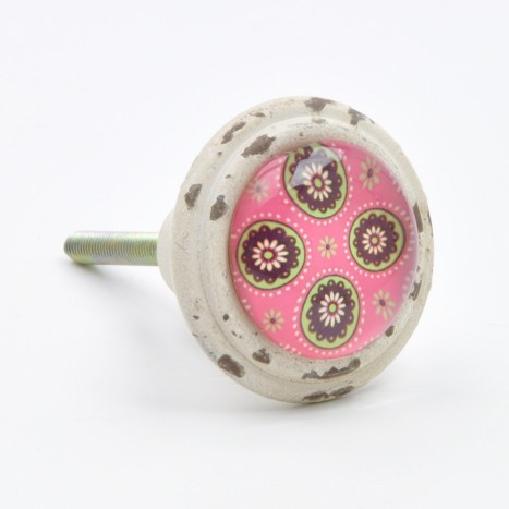 Pink Patterned Retro Knob
