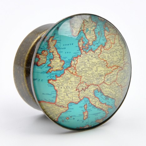 Vintage Glass Domed Map Knob