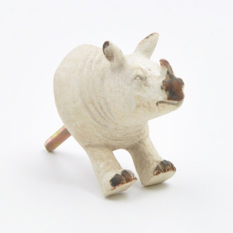 Vintage Cream Rhino Drawer Knob