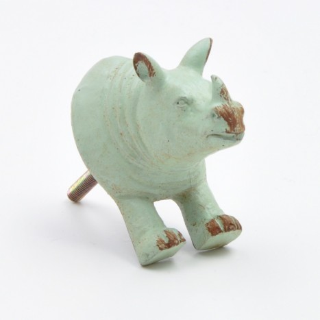 Vintage Green Rhino Drawer Knob