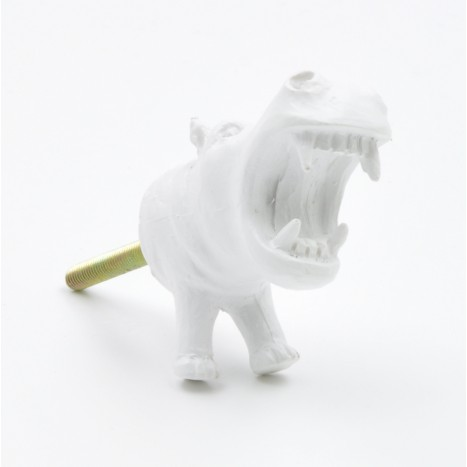 Large White Hippo Drawer Knob