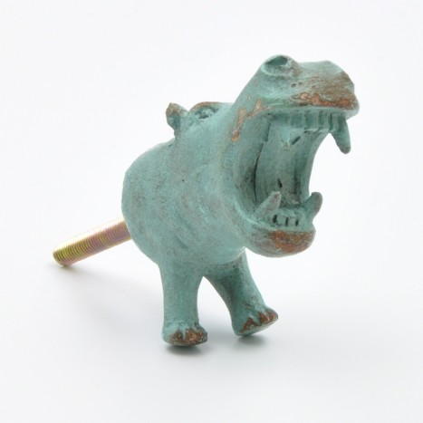 Large Blue Hippo Drawer Knob