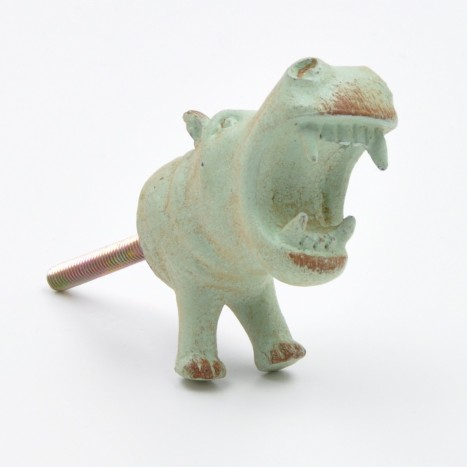 Large Green Hippo Drawer Knob