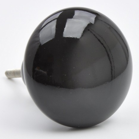 Large Black Ceramic Drawer Knob