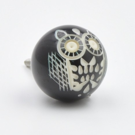 Cute Black Owl Bird Ball Drawer Knob