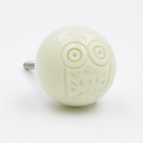 Cute Cream Owl Bird Ball Drawer Knob