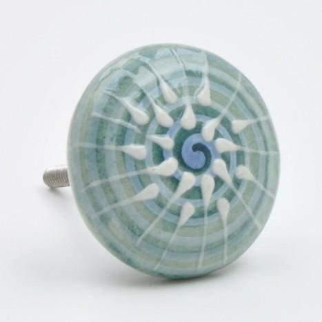 Spiral Painted Ceramic Knob