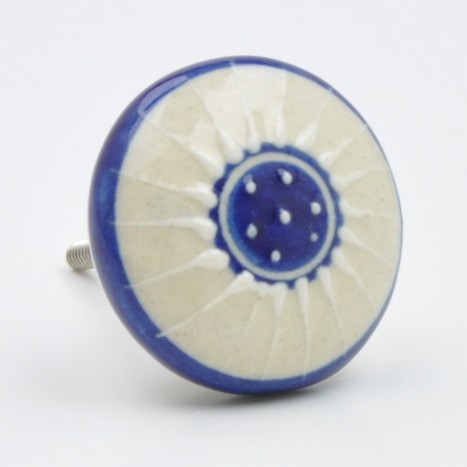 Blue And Cream Ceramic Knob