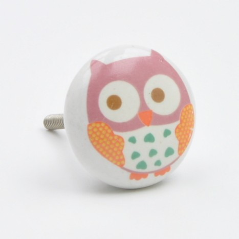 Pink Cute Owl Knob