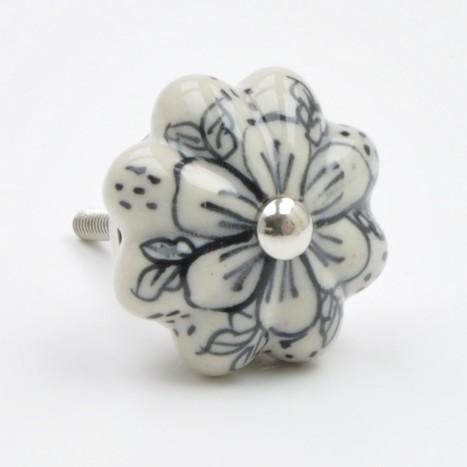 Grey Flower Knob