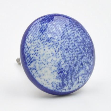 Textured Blue Ceramic Knob
