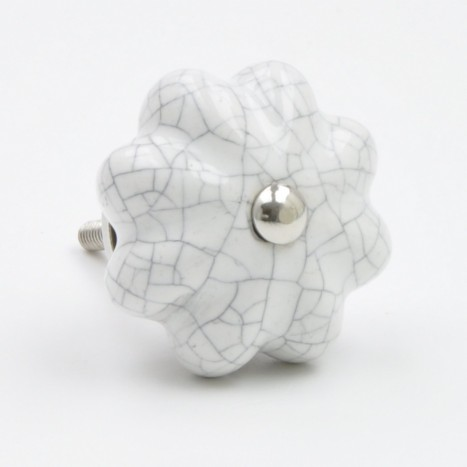 White Crackled Ceramic Knob