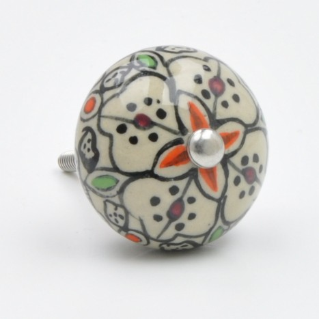 Pretty Painted Flower Knob